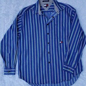 Tommy Jeans Mens Blue Striped Snap Front Long Slee